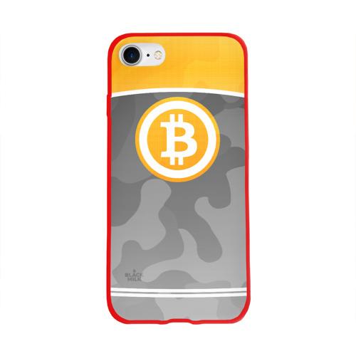 Чехол для Apple iPhone 8 силиконовый глянцевый Black Milk Bitcoin - Биткоин Фото 01