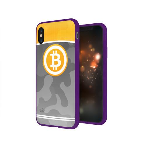 Чехол для Apple iPhone X силиконовый глянцевый Black Milk Bitcoin - Биткоин Фото 01