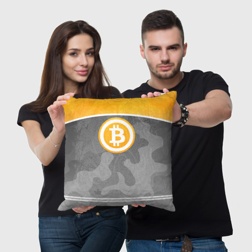 Подушка 3D Black Milk Bitcoin - Биткоин Фото 01