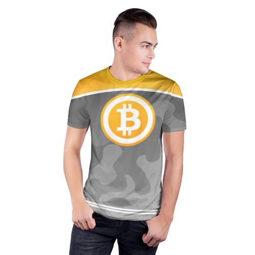 Мужская футболка 3D спортивная  Фото 03, Black Milk Bitcoin - Биткоин