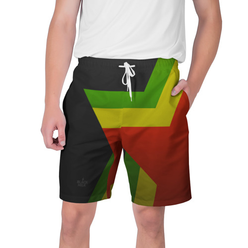 Мужские шорты 3D Black Milk Black Rasta Star