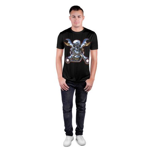 Мужская футболка 3D спортивная  Фото 04, Череп двигатель