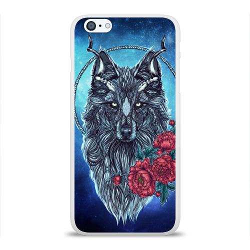 Чехол для Apple iPhone 6Plus/6SPlus силиконовый глянцевый  Фото 01, Волк с цветами