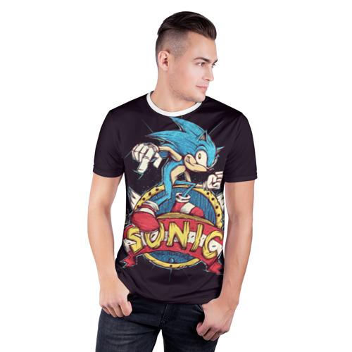 Мужская футболка 3D спортивная  Фото 03, Соник супережик