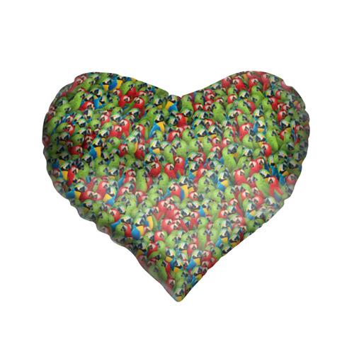 Подушка 3D сердце  Фото 01, Попугаи