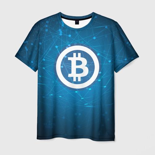 Мужская футболка 3D  Фото 03, Bitcoin Blue - Биткоин