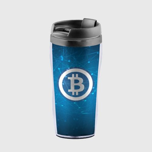 Термокружка-непроливайка Bitcoin Blue - Биткоин