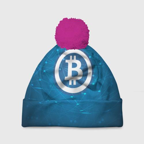 Шапка 3D c помпоном Bitcoin Blue - Биткоин
