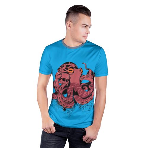 Мужская футболка 3D спортивная  Фото 03, Осьминог