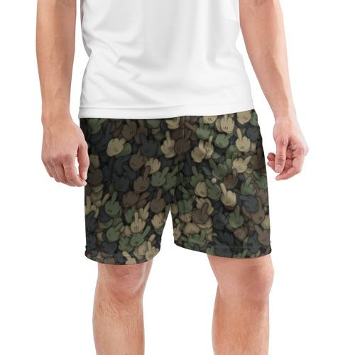 Мужские шорты 3D спортивные  Фото 03, Камуфляж с пальцами