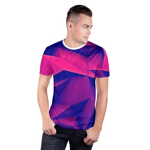 Мужская футболка 3D спортивная Violet polygon Фото 01