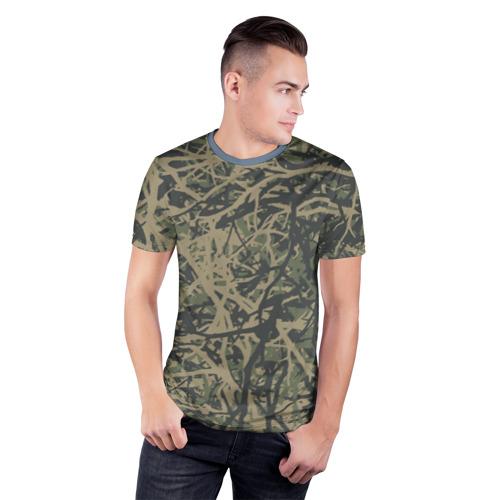 Мужская футболка 3D спортивная  Фото 03, Лесной камуфляж