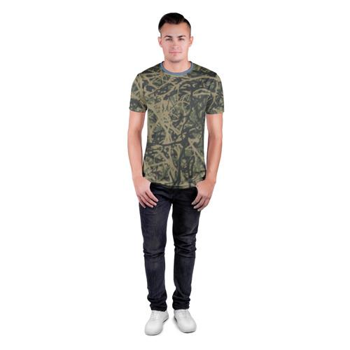 Мужская футболка 3D спортивная  Фото 04, Лесной камуфляж