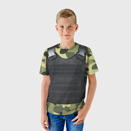 Детская футболка 3D Бронежилет + камуфляж