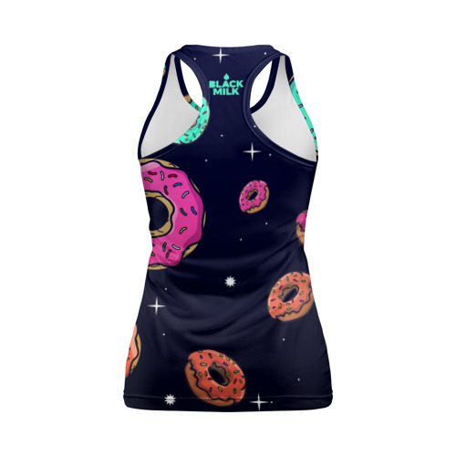 Женская майка 3D спортивная Black Milk Космические Пончики Фото 01