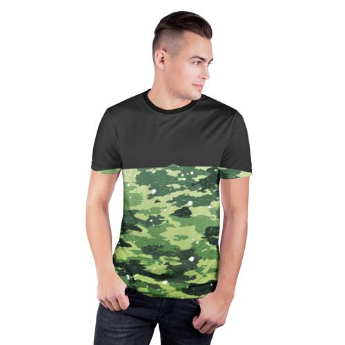 Мужская футболка 3D спортивная  Фото 03, Black Milk Camo Black Snow