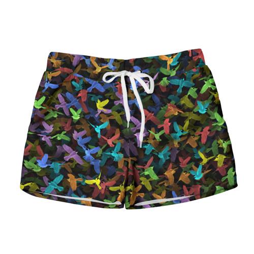 Женские шорты 3D  Фото 01, Разноцветные птички