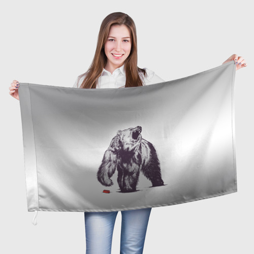 Флаг 3D  Фото 01, Медведь наступил на лего