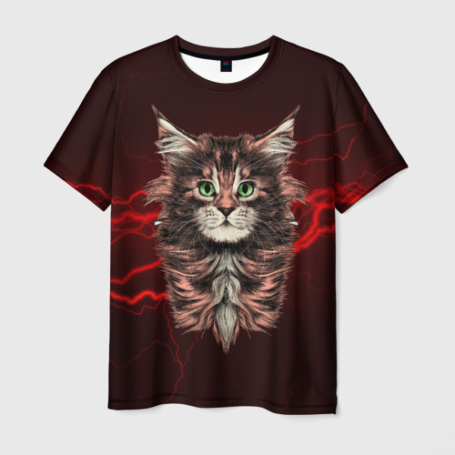 Мужская футболка 3D Electro cat