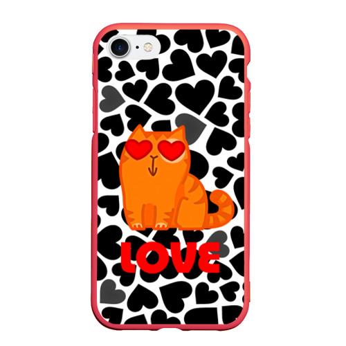 Чехол для iPhone 7/8 матовый Влюбленный котик Фото 01