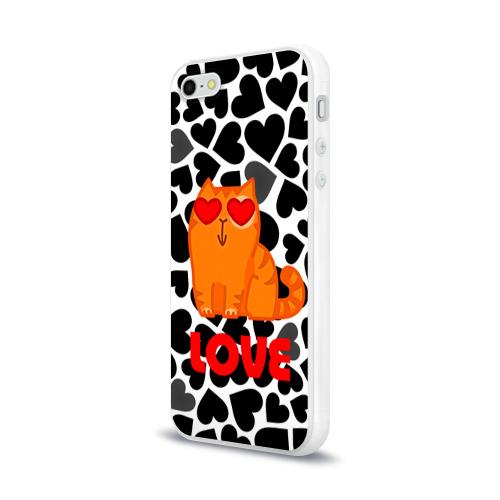 Чехол для Apple iPhone 5/5S силиконовый глянцевый  Фото 03, Влюбленный котик