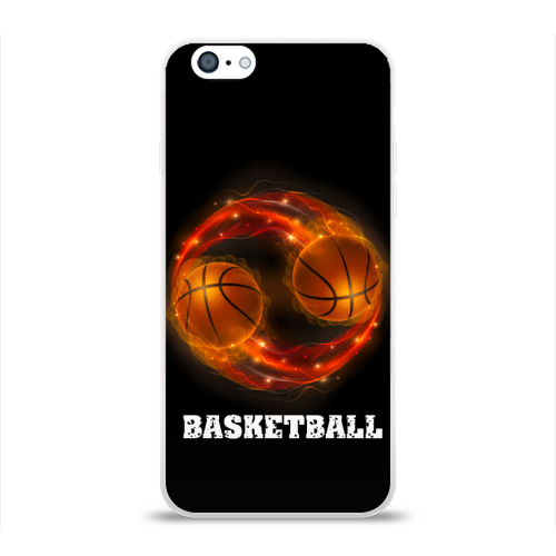 Чехол для Apple iPhone 6 силиконовый глянцевый  Фото 01, basketball fire