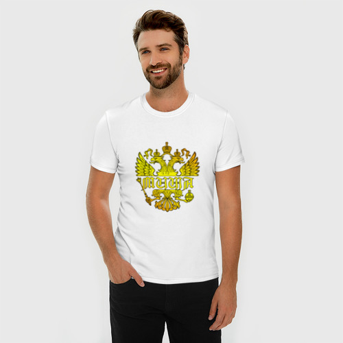 Мужская футболка премиум  Фото 03, Миша в золотом гербе РФ