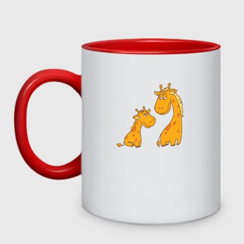 Кружка двухцветная Жирафы