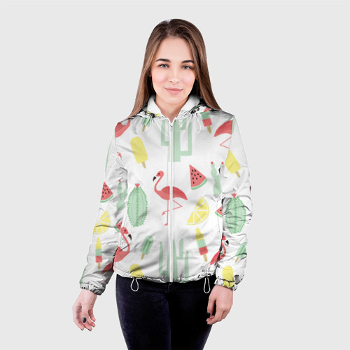 Женская куртка 3D  Фото 03, Flamingo print