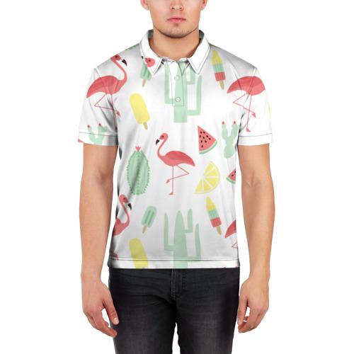 Мужская рубашка поло 3D  Фото 03, Flamingo print