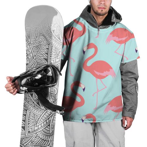 Накидка на куртку 3D  Фото 01, Flamingos pattern