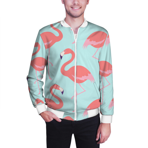 Мужской бомбер 3D  Фото 03, Flamingos pattern