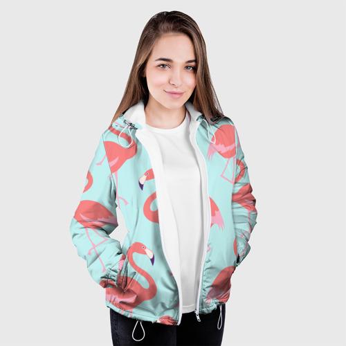 Женская куртка 3D  Фото 04, Flamingos pattern