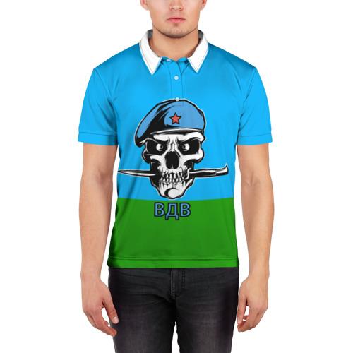 Мужская рубашка поло 3D  Фото 03, ВДВ череп с ножом