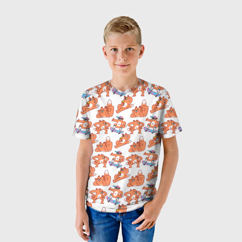Детская футболка 3D Стикеры с лисом