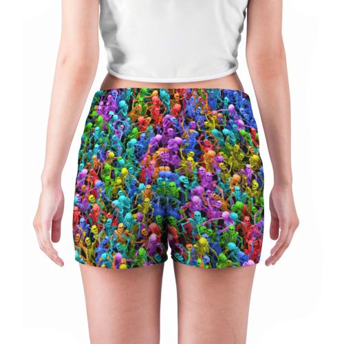 Женские шорты 3D  Фото 04, Разноцветные скелеты