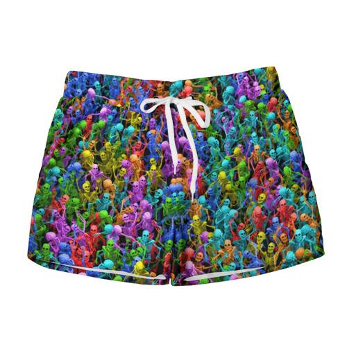 Женские шорты 3D  Фото 01, Разноцветные скелеты