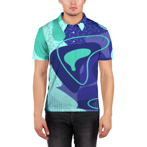 Мужская рубашка поло 3D  Фото 03, Sky pattern