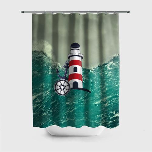 Штора 3D для ванной Морской Фото 01