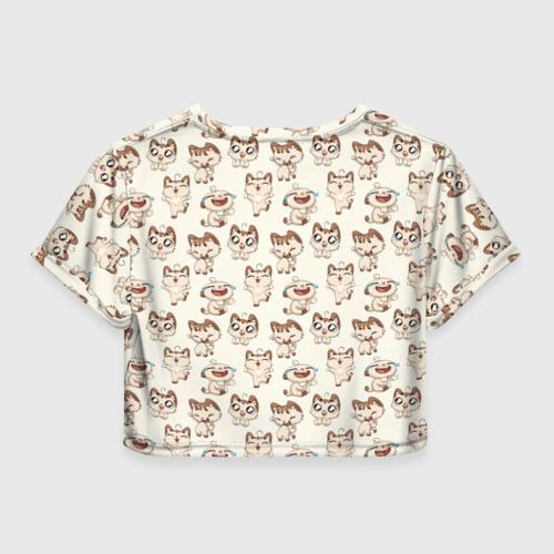 Женская футболка 3D укороченная  Фото 02, Стикеры котик