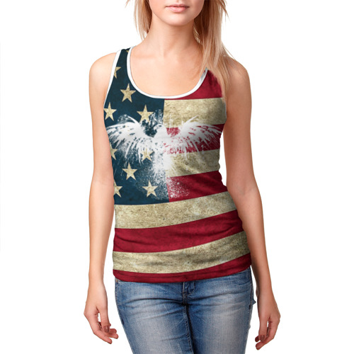 Женская майка 3D  Фото 03, Флаг США с белым орлом