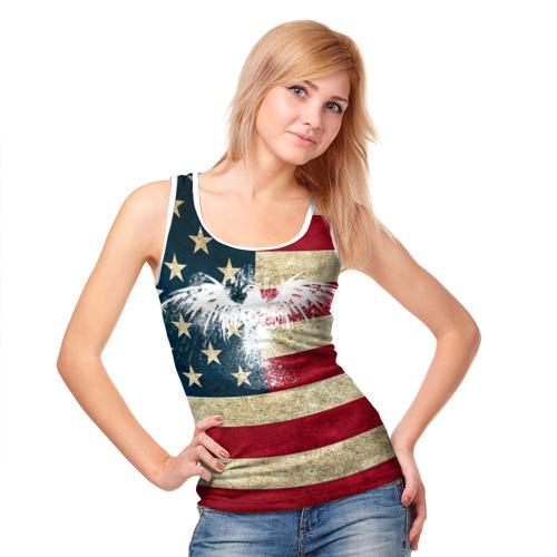 Женская майка 3D  Фото 05, Флаг США с белым орлом
