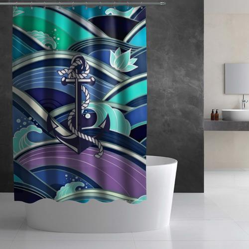 Штора 3D для ванной Моряк Фото 01