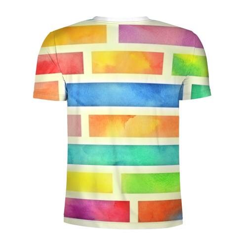 Мужская футболка 3D спортивная  Фото 02, Bricks Watercolor