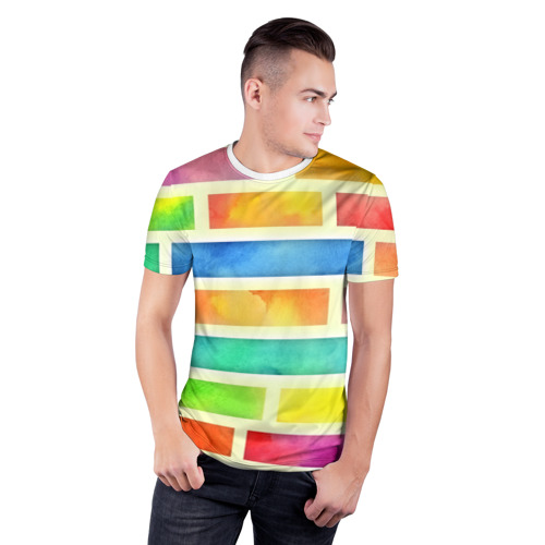 Мужская футболка 3D спортивная  Фото 03, Bricks Watercolor
