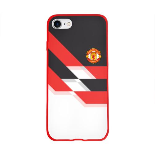 Чехол для Apple iPhone 8 силиконовый глянцевый Manchester United - Stripe