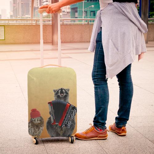 Чехол для чемодана 3D Енот, сова и аккордион Фото 01