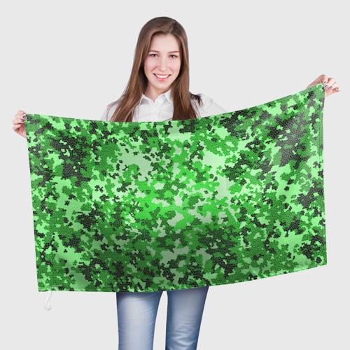 Флаг 3D  Фото 01, Камуфляж зеленые соты