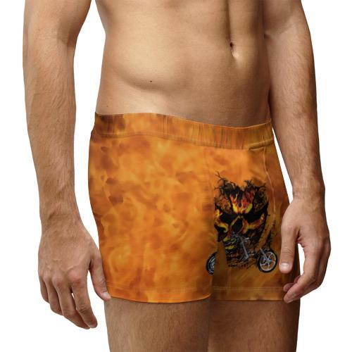 Мужские трусы 3D  Фото 03, Череп в огне, байк
