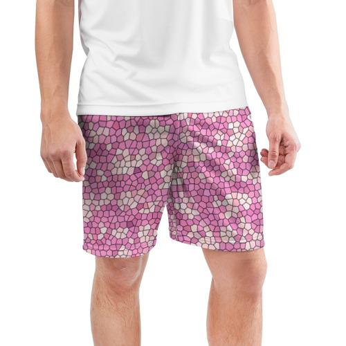 Мужские шорты 3D спортивные  Фото 03, Pink mosaic